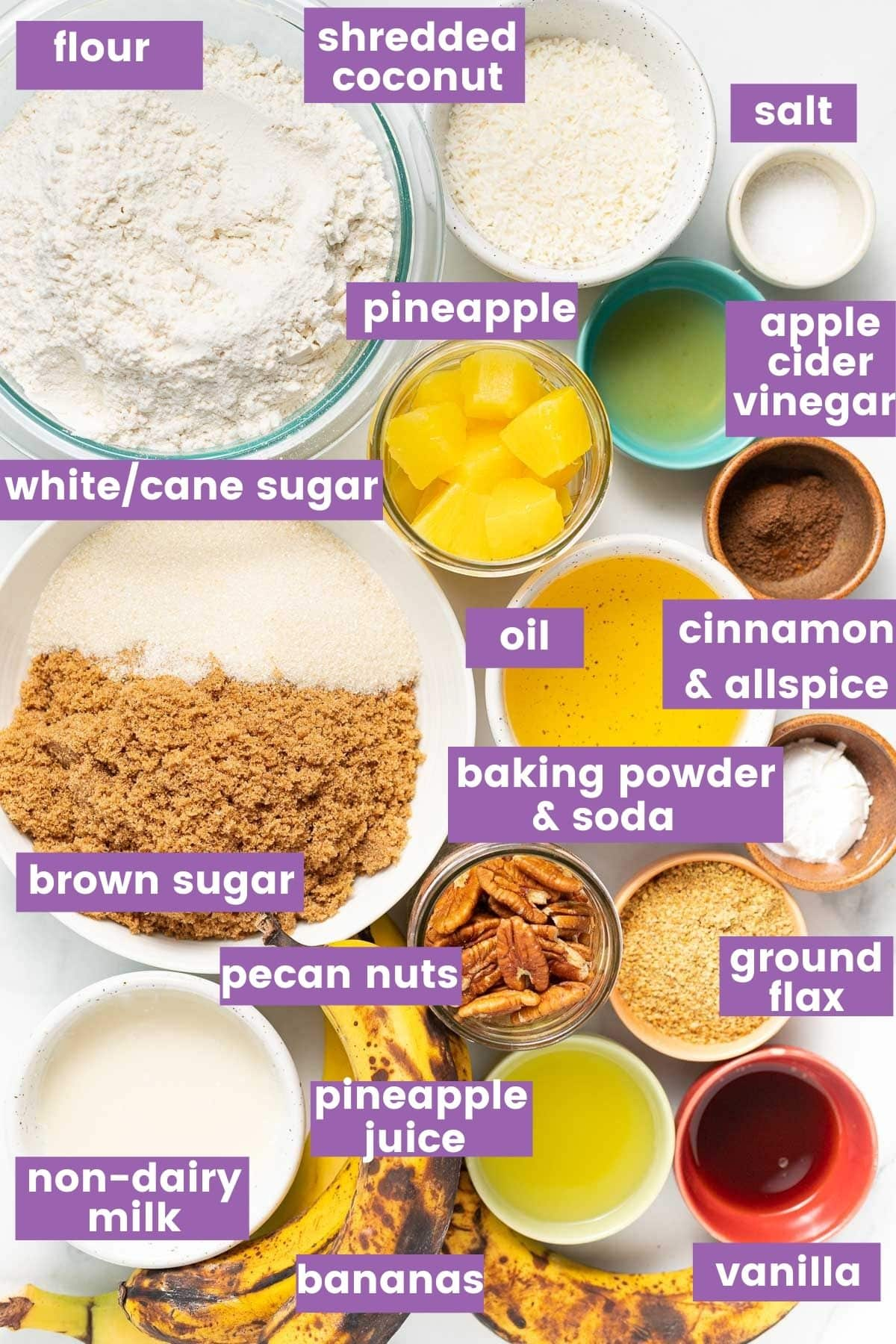 ingredients for vegan hummingbird cake