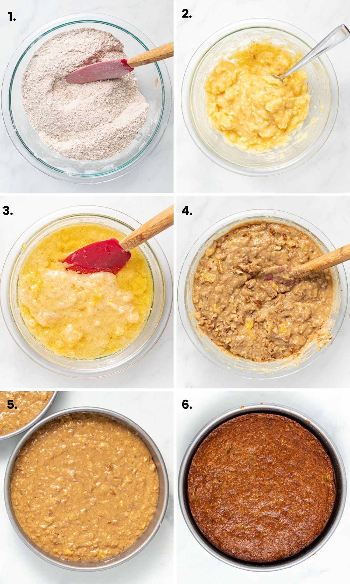 process photos showing how to make a vegan hummingbird cake as per written instructions