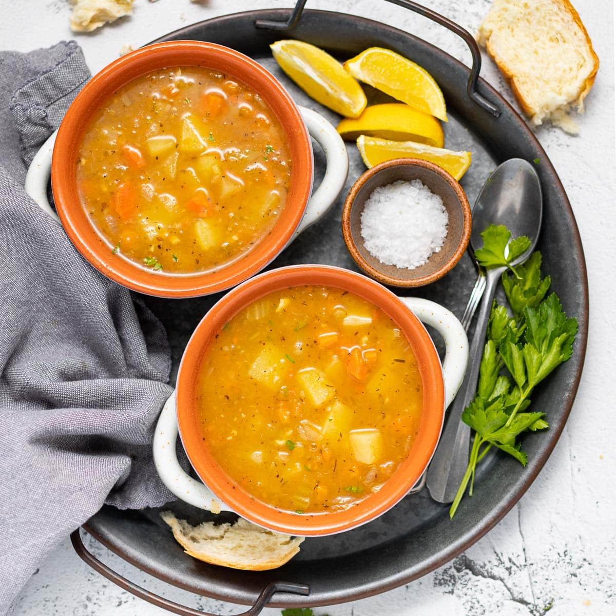 2 bowls of vegetable soup