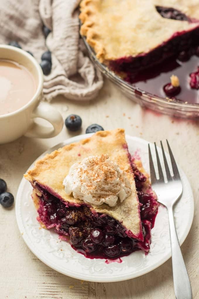 a slice of vegan blueberry pie