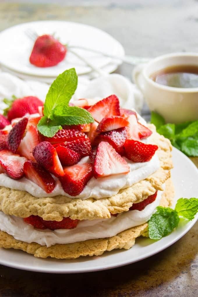 vegan strawberry shortcake with mint leaves for garnish