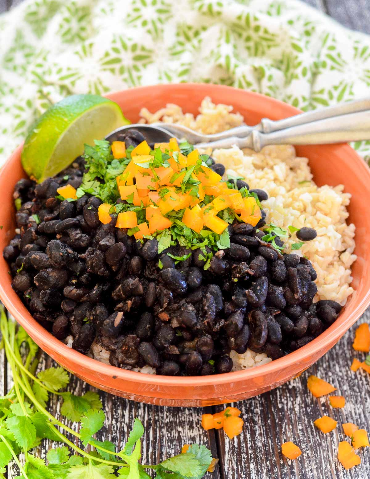 a bowl of black beans and rice