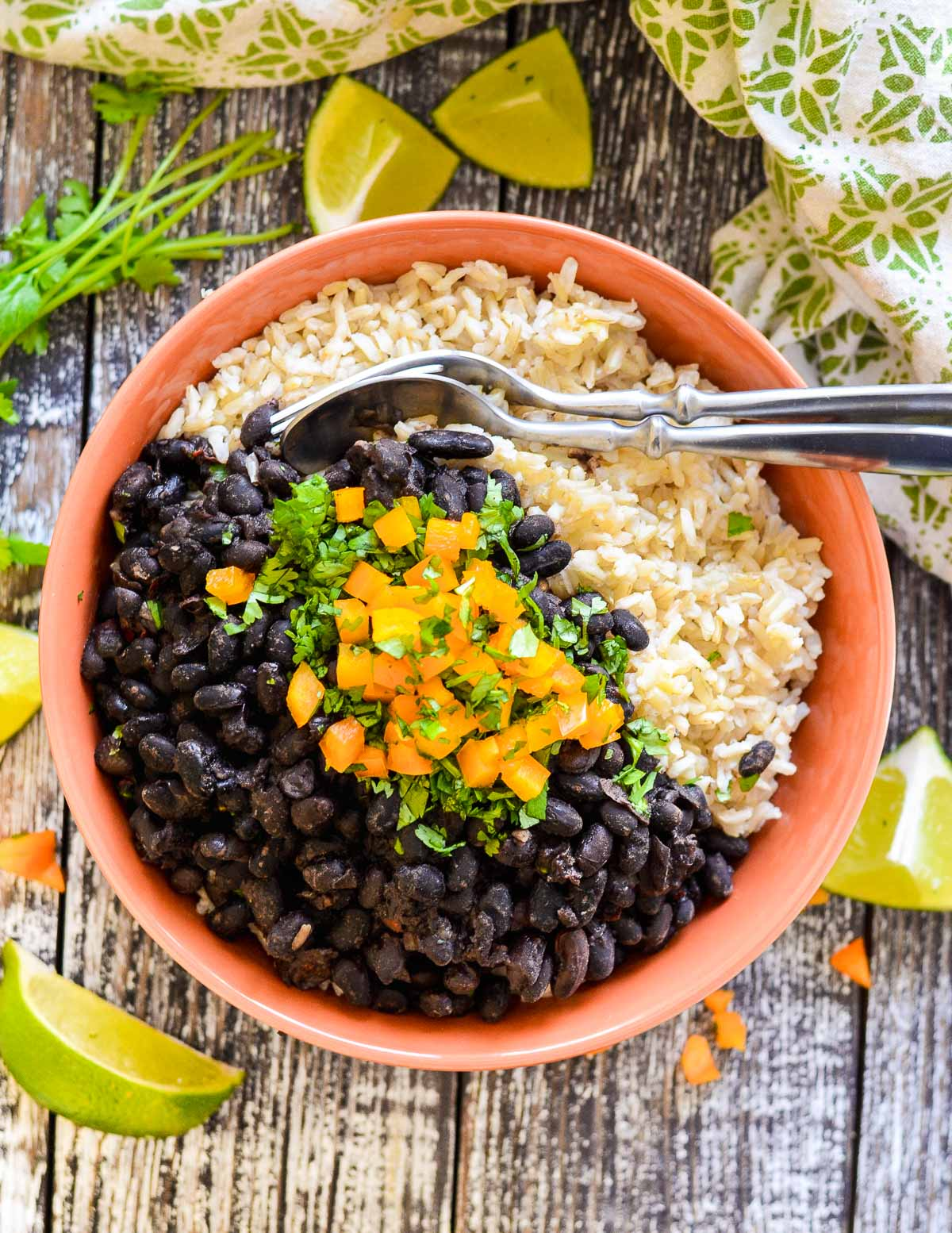 black beans over rice in a bowl