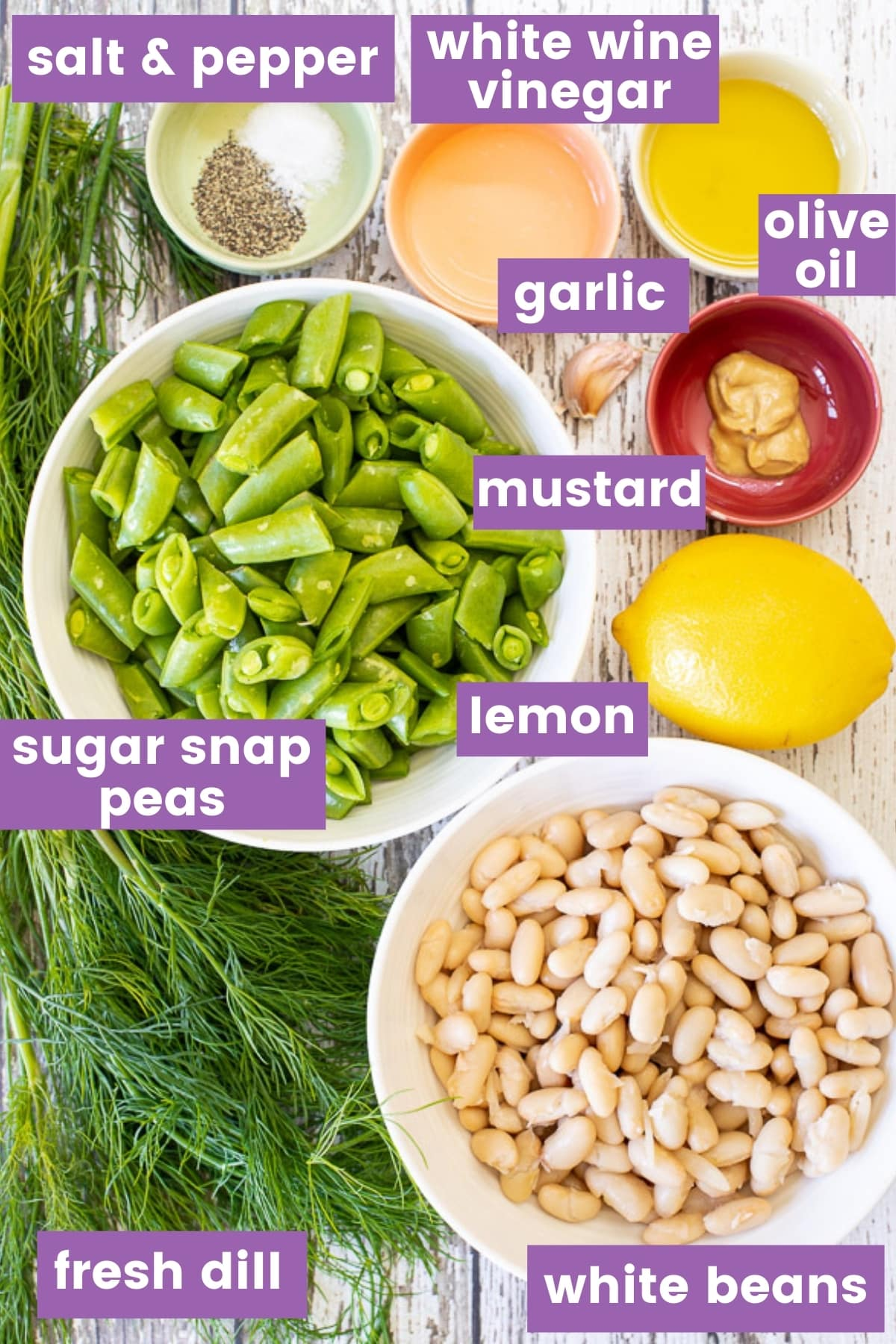 ingredients for sugar snap pea salad