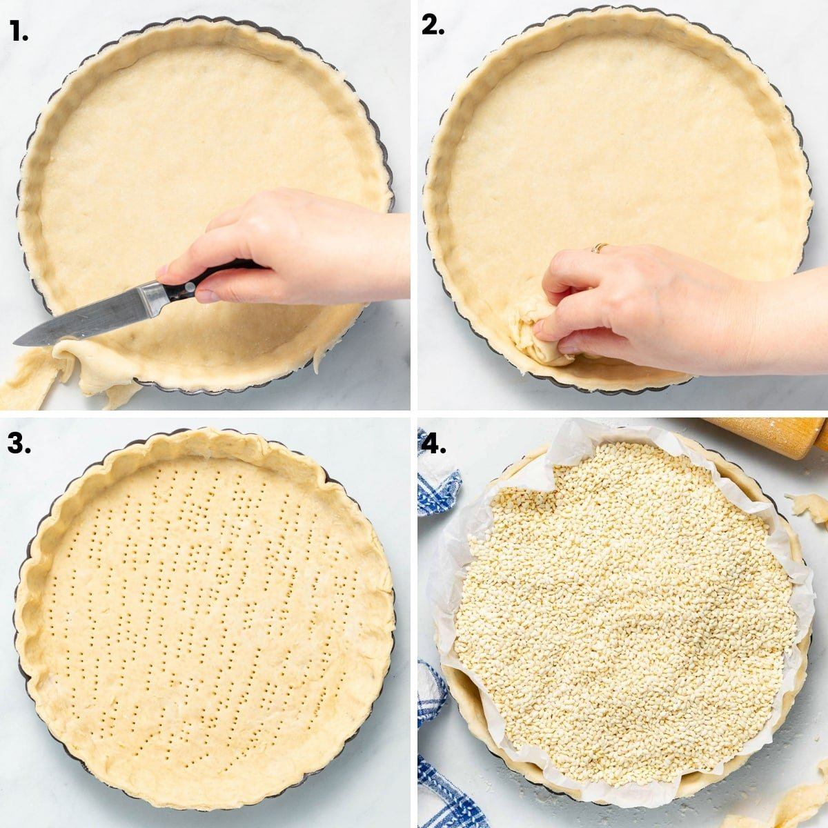 lining a quiche pan