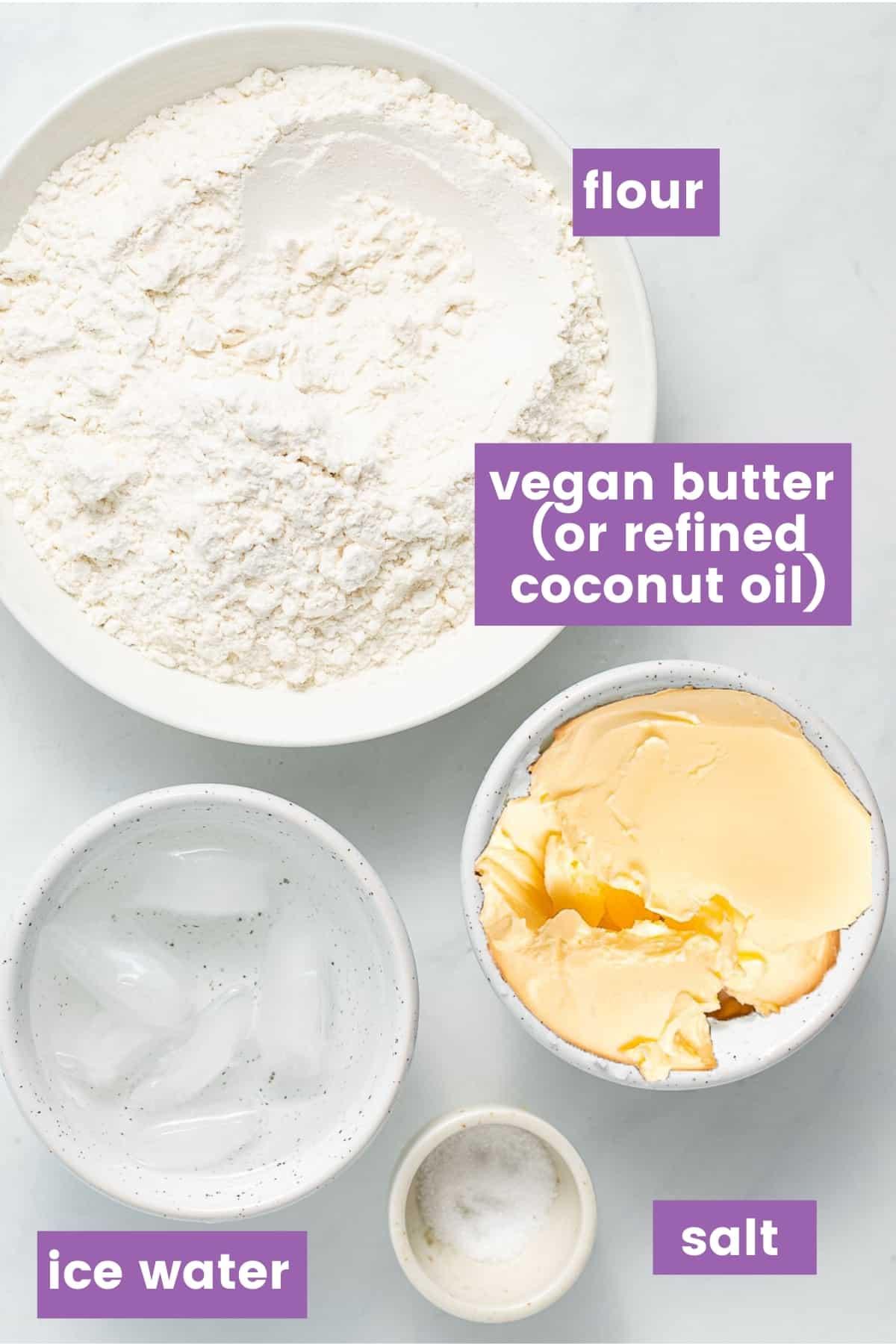 ingredients for vegan pie crust