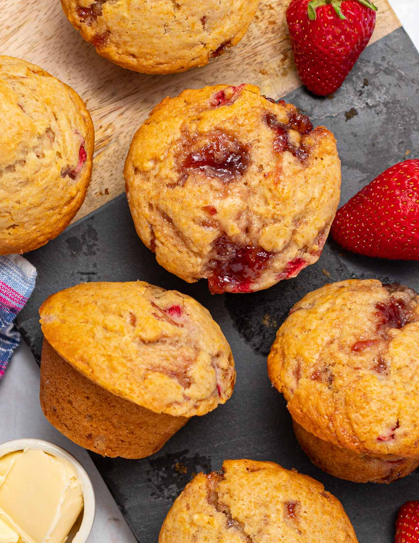 jammy strawberry muffins