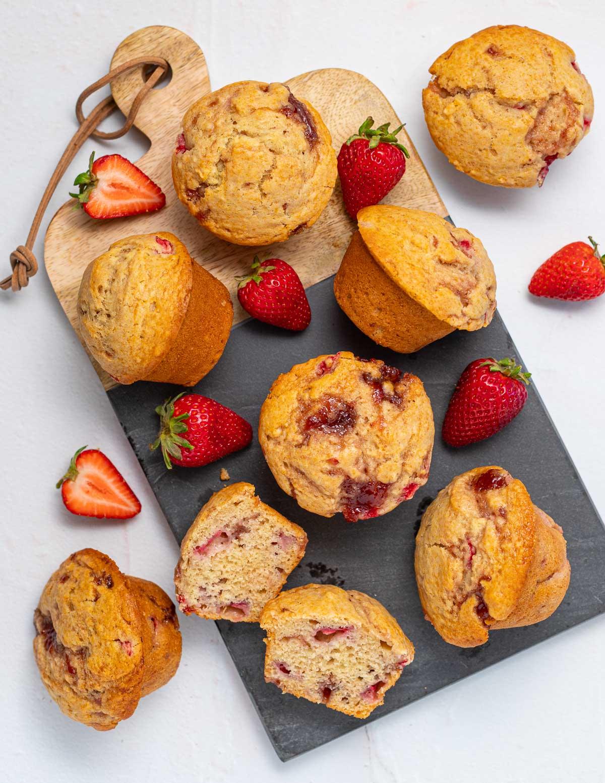 strawberry muffins on a slate board
