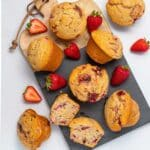 vegan strawberry muffins on a cutting board