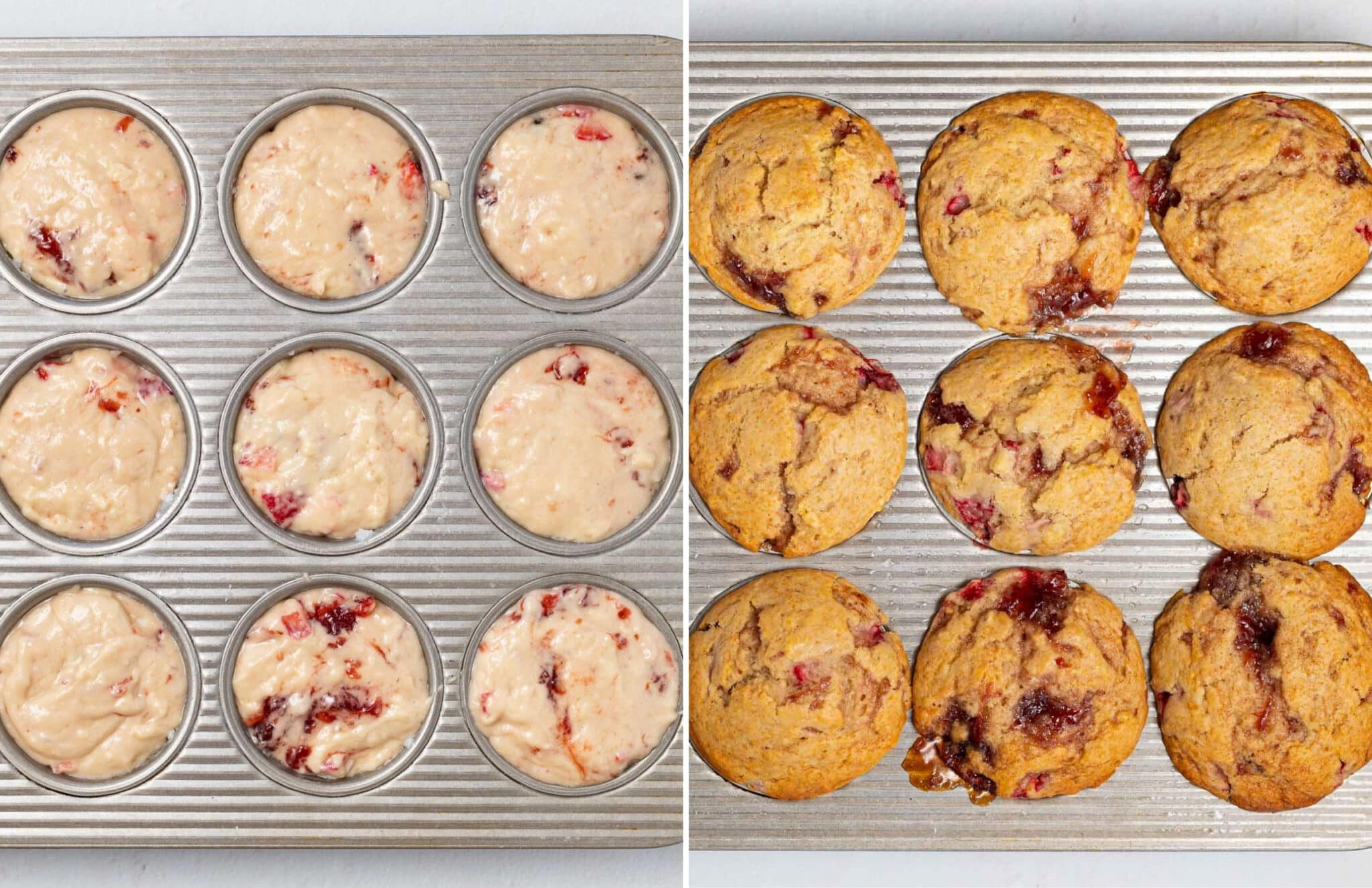 vegan strawberry muffins before baking and after baking
