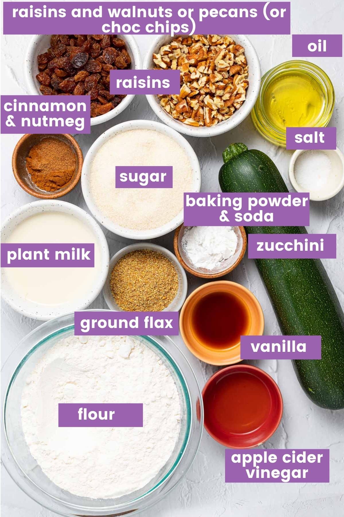 ingredients for zucchini muffins as per written list