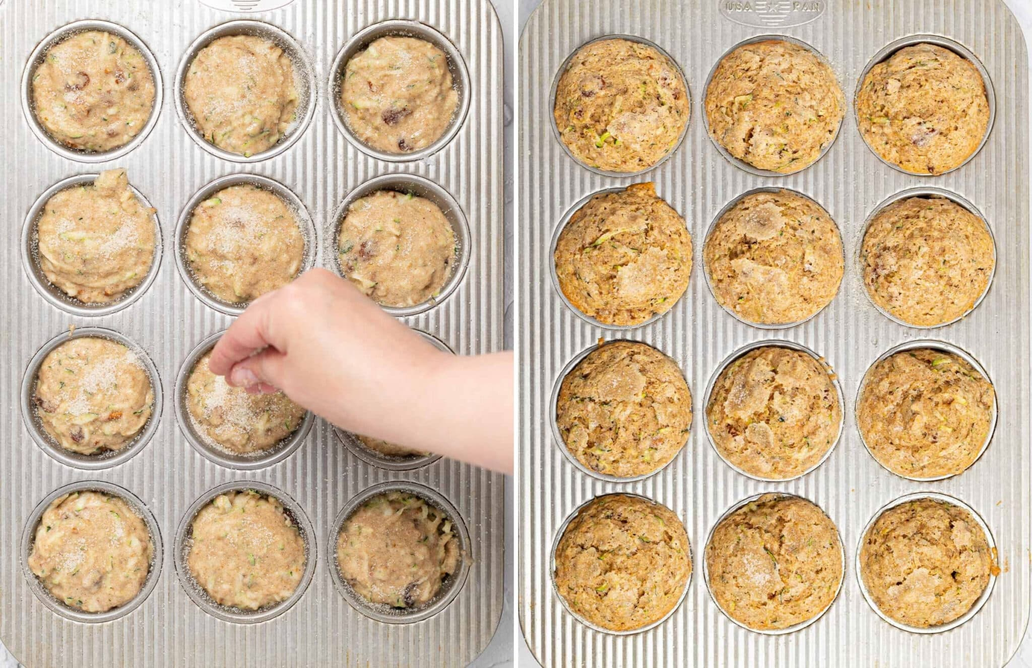 muffins before and after cooking