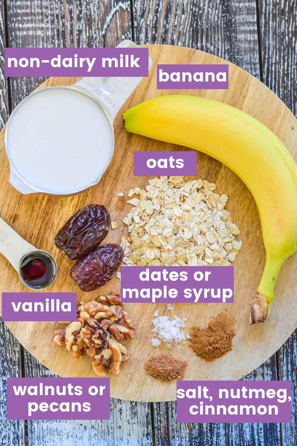 vegan banana smoothie ingredients