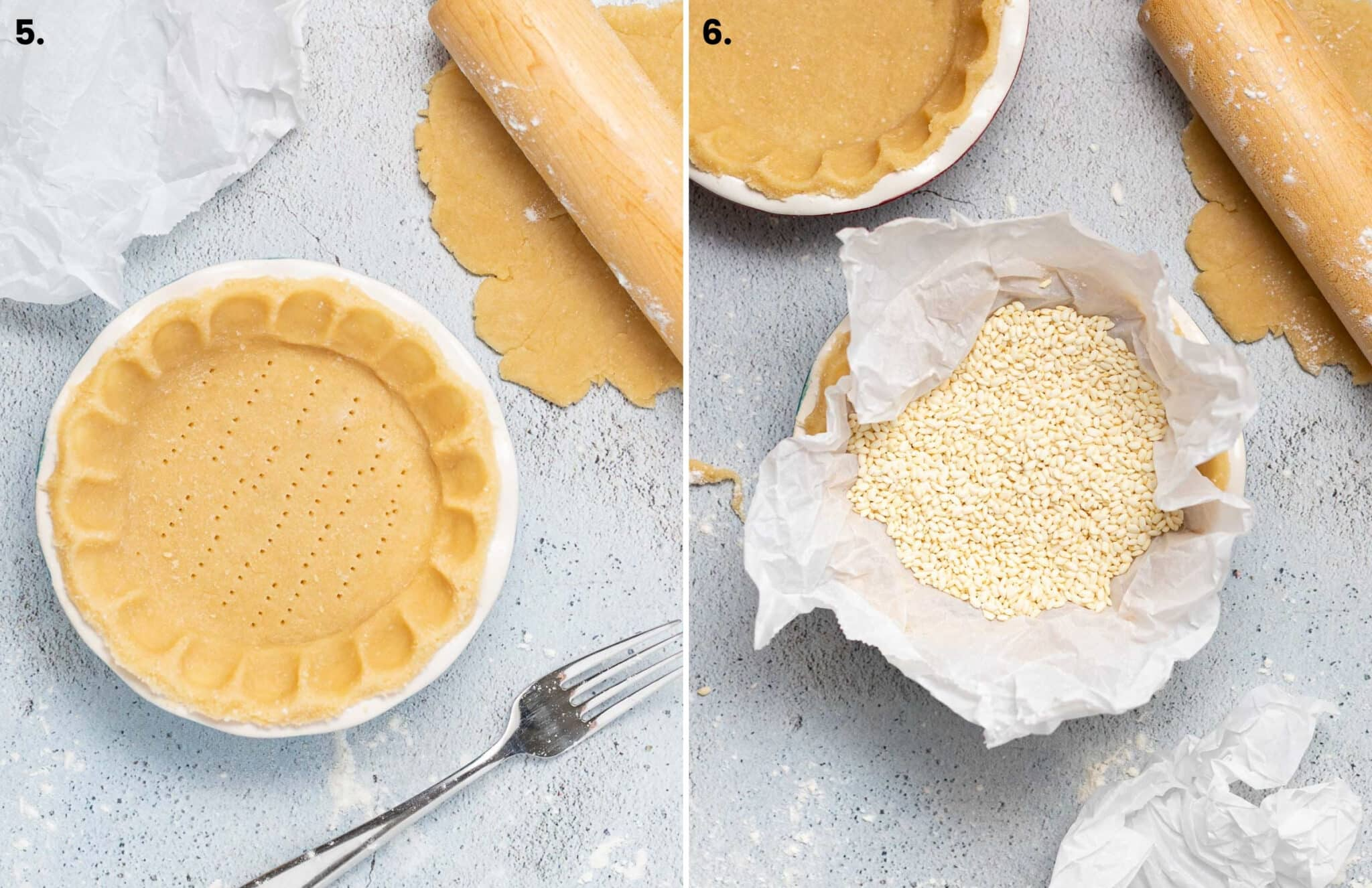 lining a pie crust with parchment paper and rice