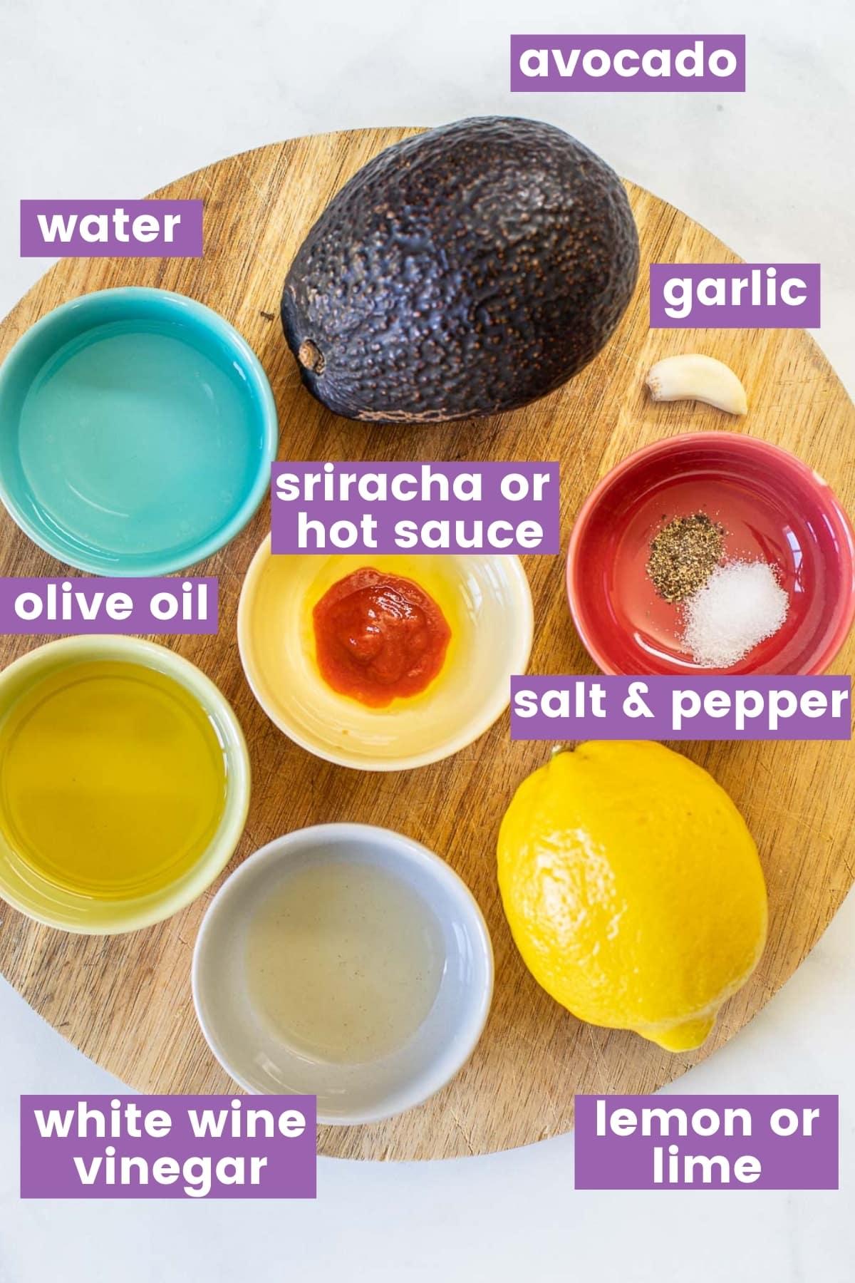 ingredients for vegan avocado dressing as per written ingredient list