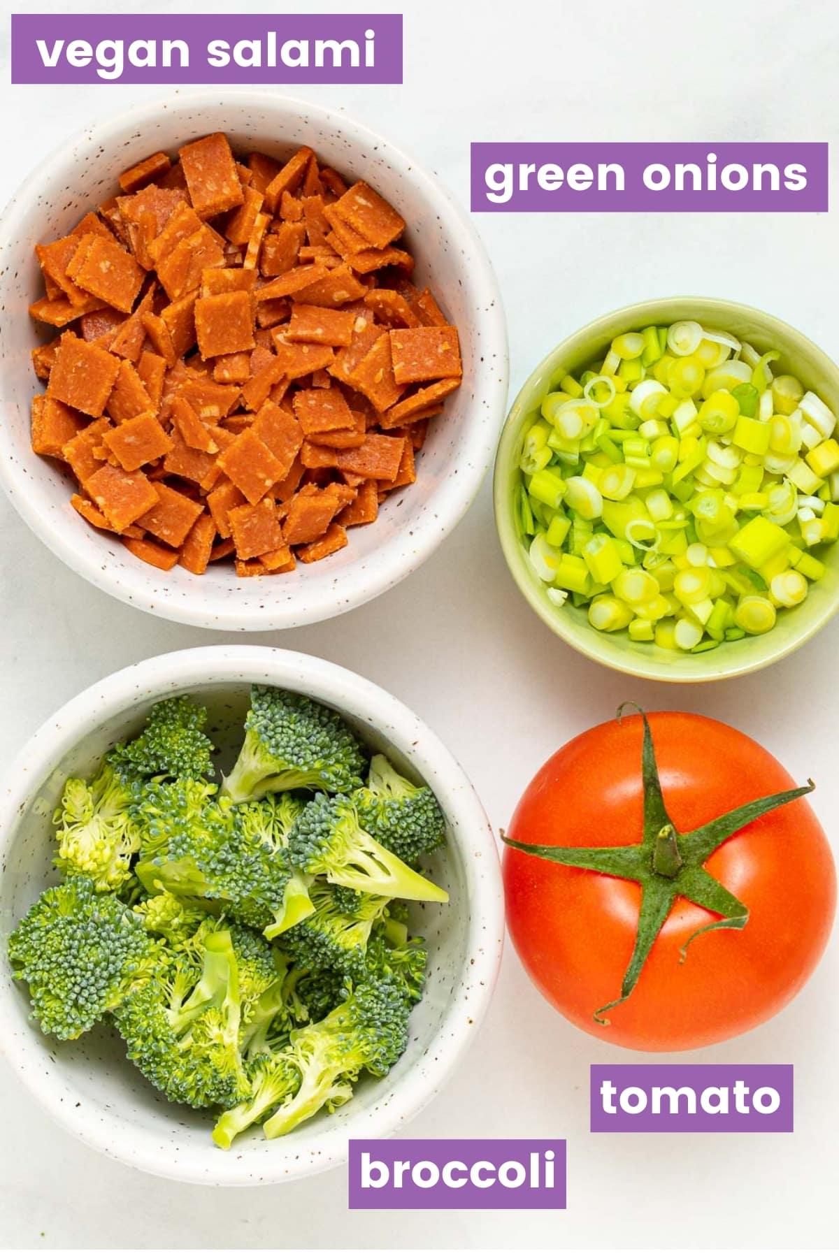 vegan salami. broccoli, green onion & tomato