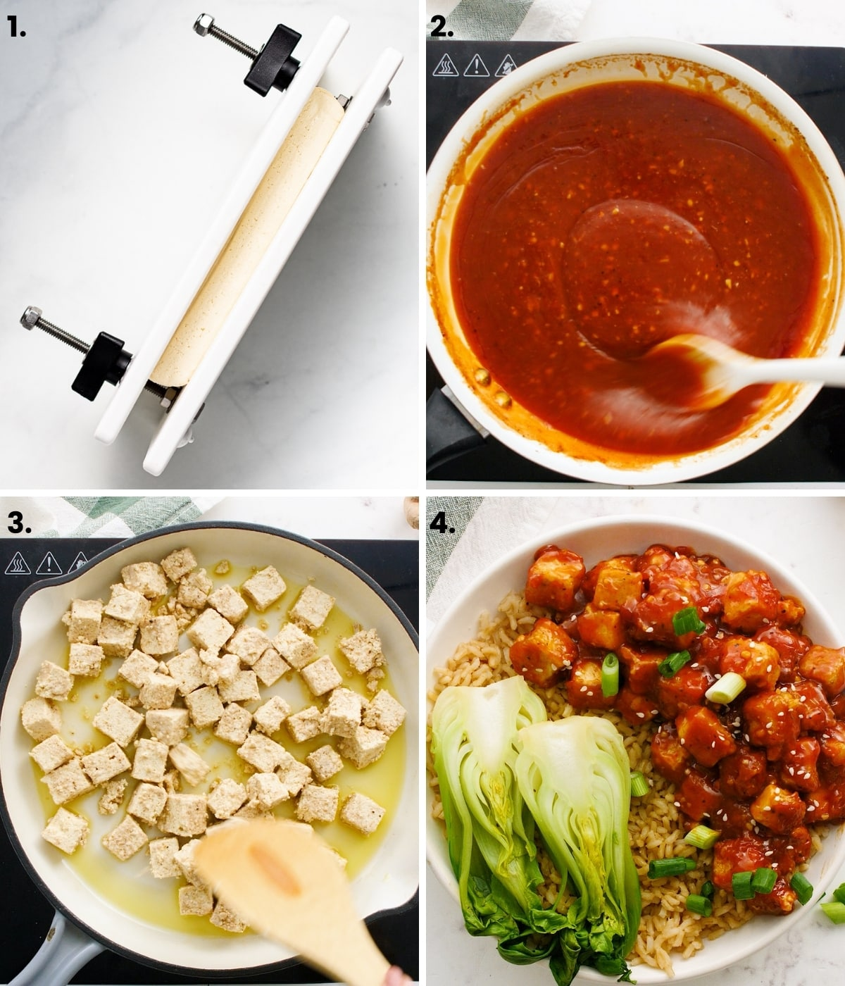 process photos showing how to make five spice tofu as per the written recipe