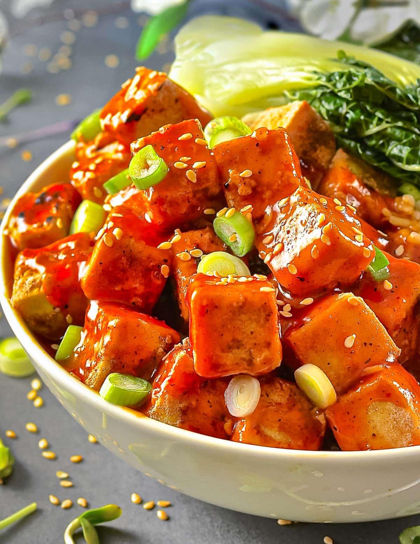 a bowl of sticky tofu