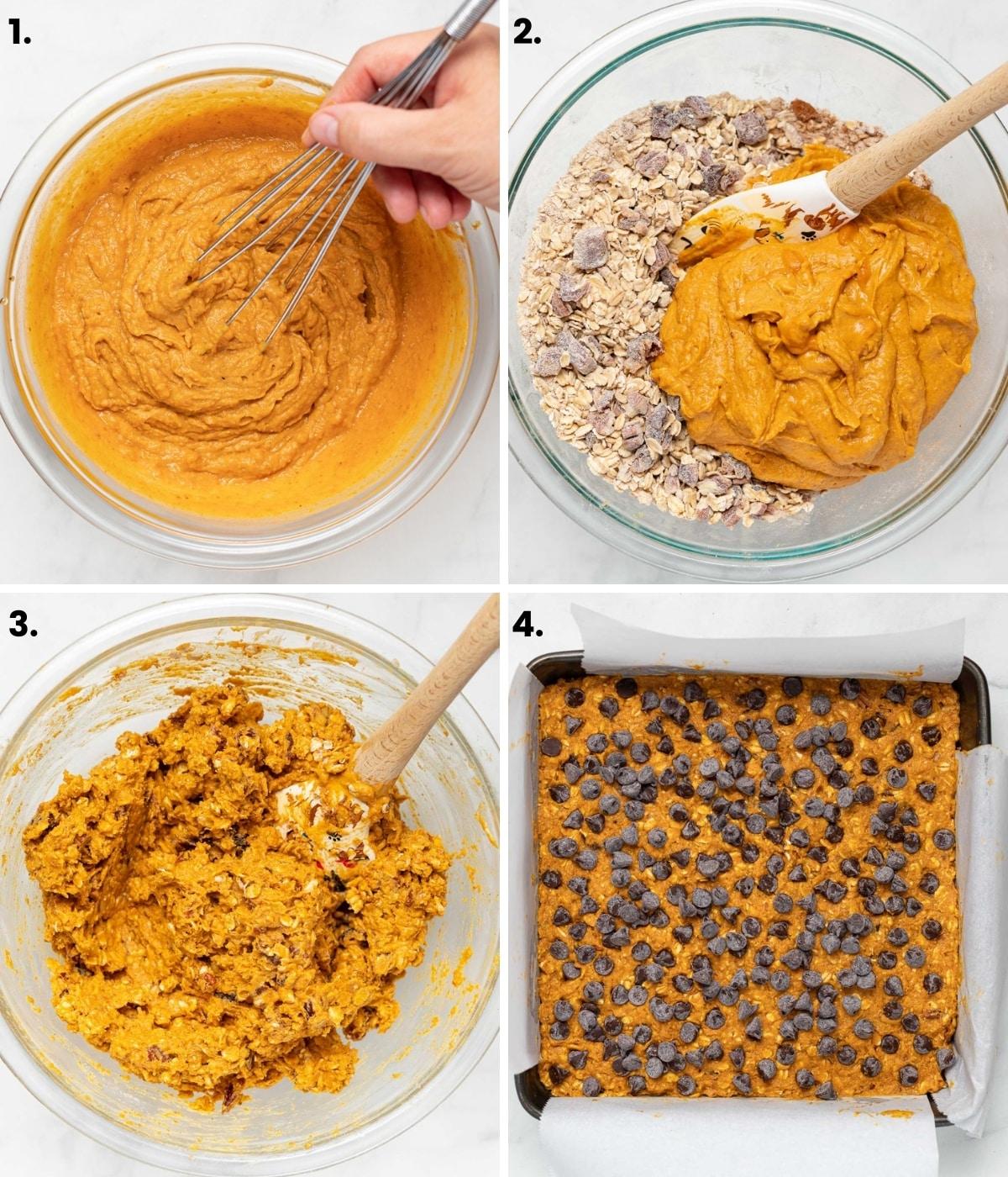 how to make pumpkin oatmeal bars as per written instructions