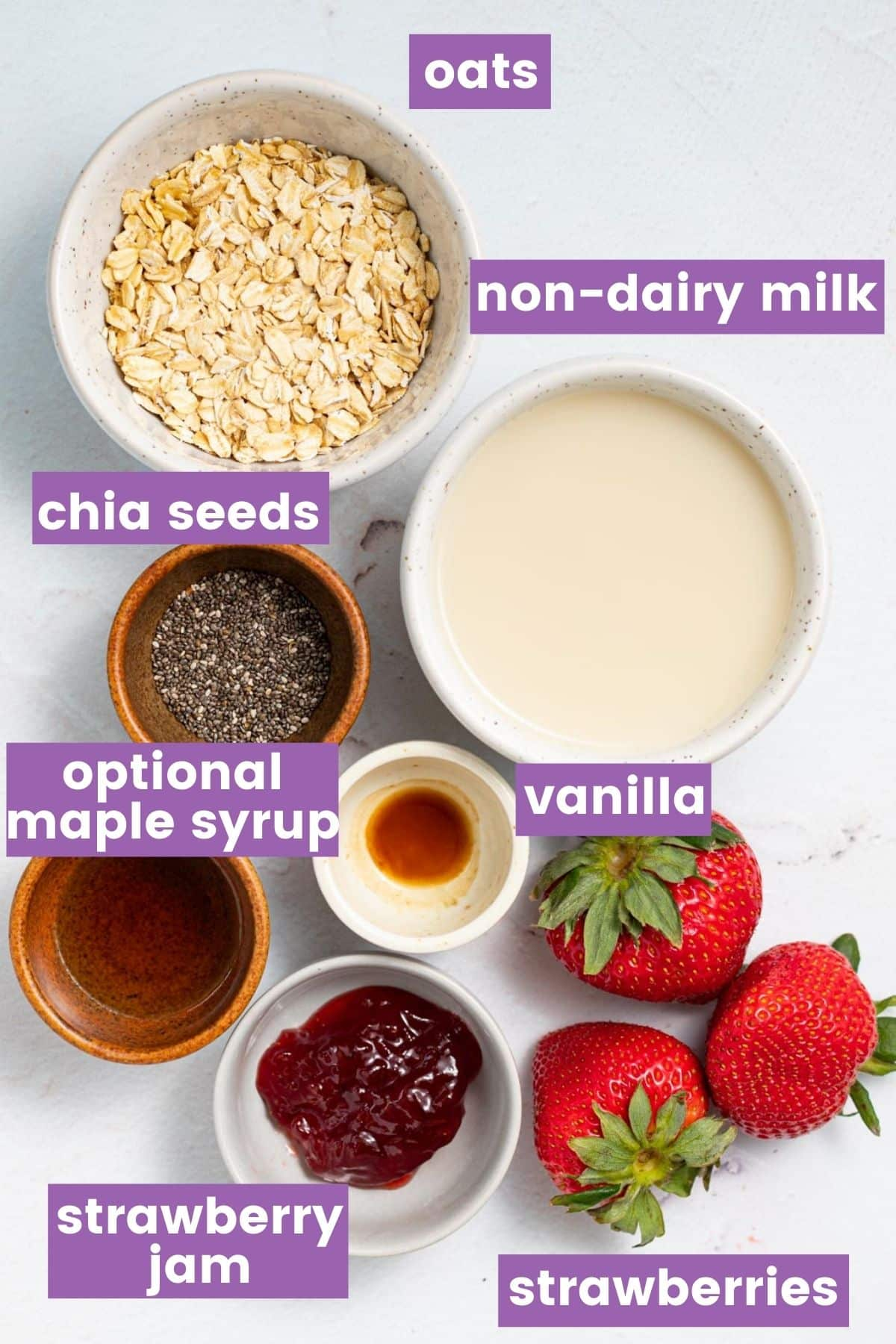 ingredients needed to make strawberry overnight oats