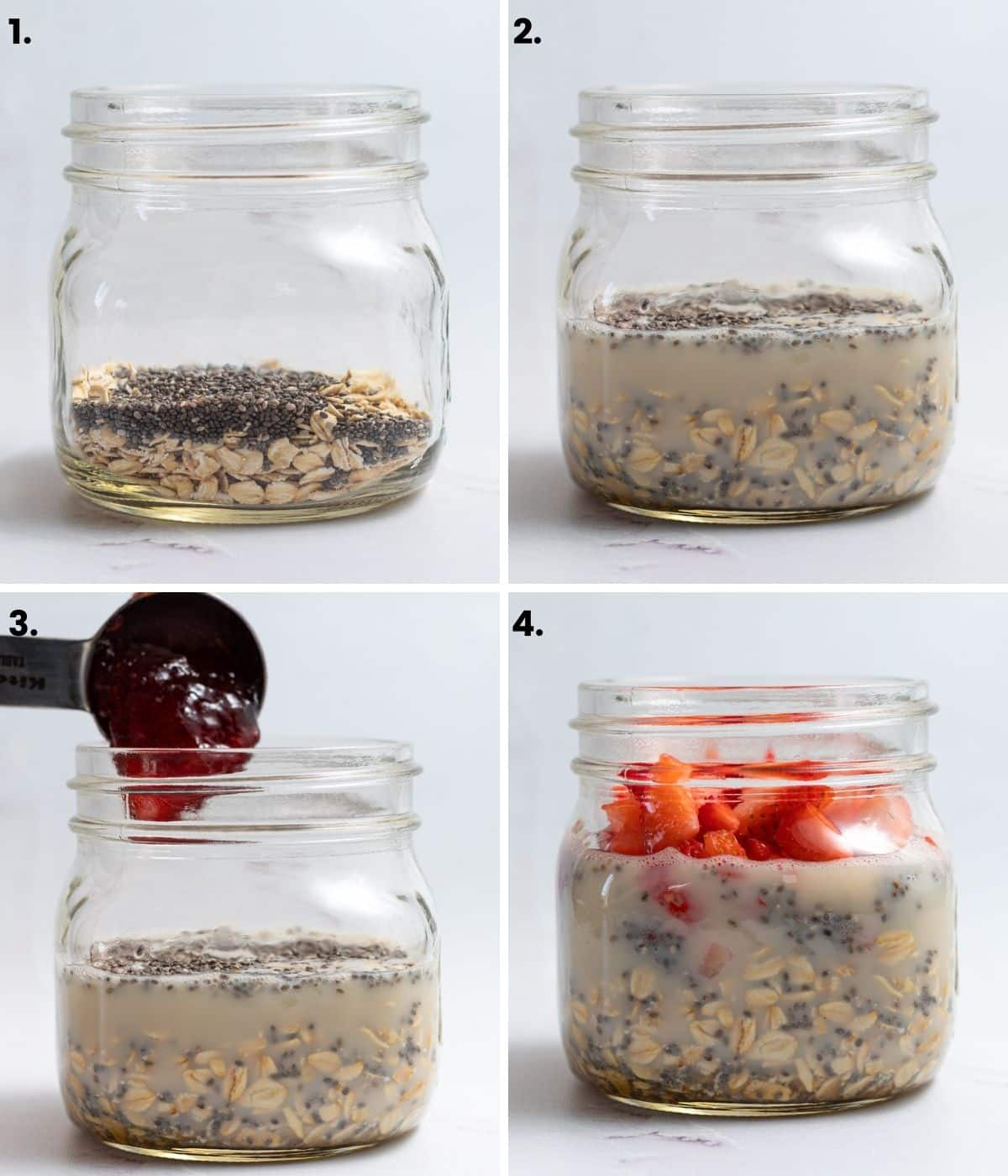 how to make strawberry overnight oats in pictures (as per written instructions)
