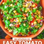 tomato chickpea salad in a bowl