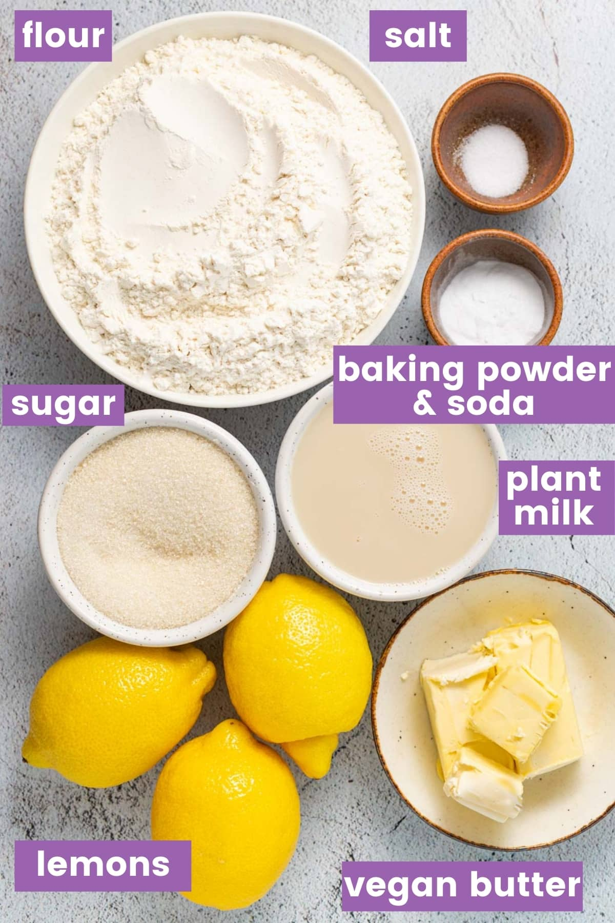 ingredients for lemon muffins as per the written list
