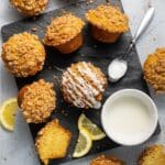 vegan lemon muffins on a slate cutting board