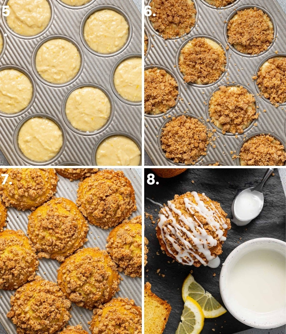 process shots of muffin batter in a pan, streusel added, then before and after baking