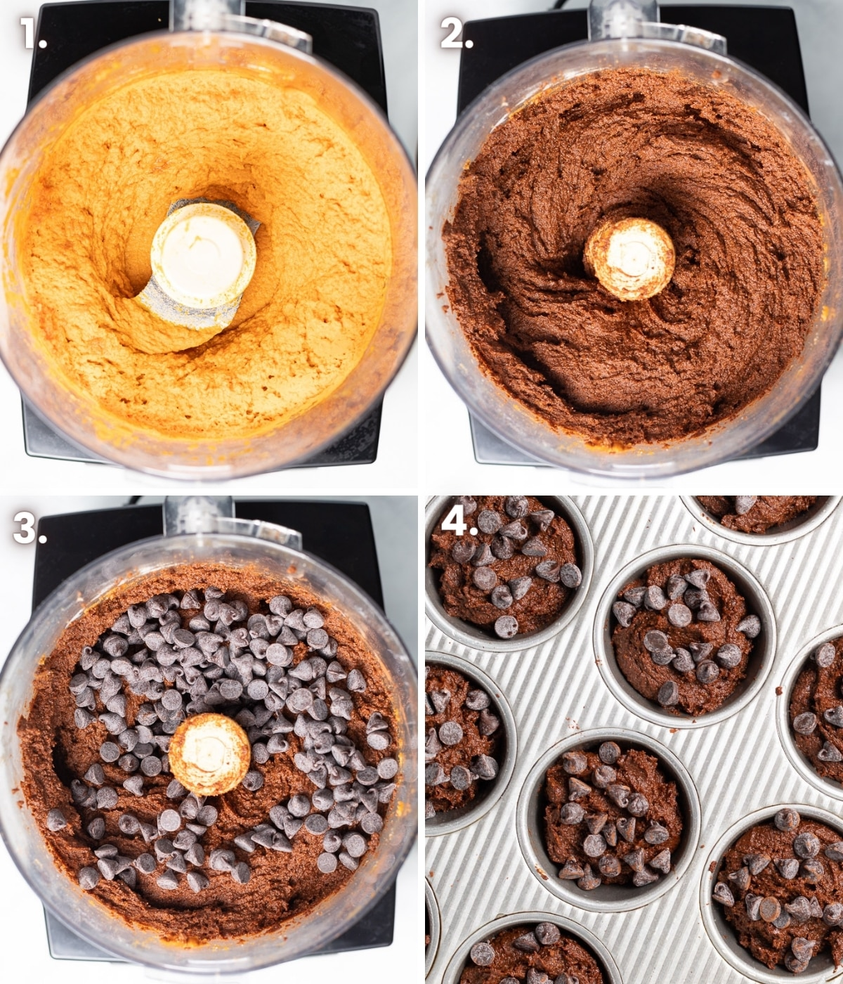step by step how to make chocolate pumpkin muffin photos