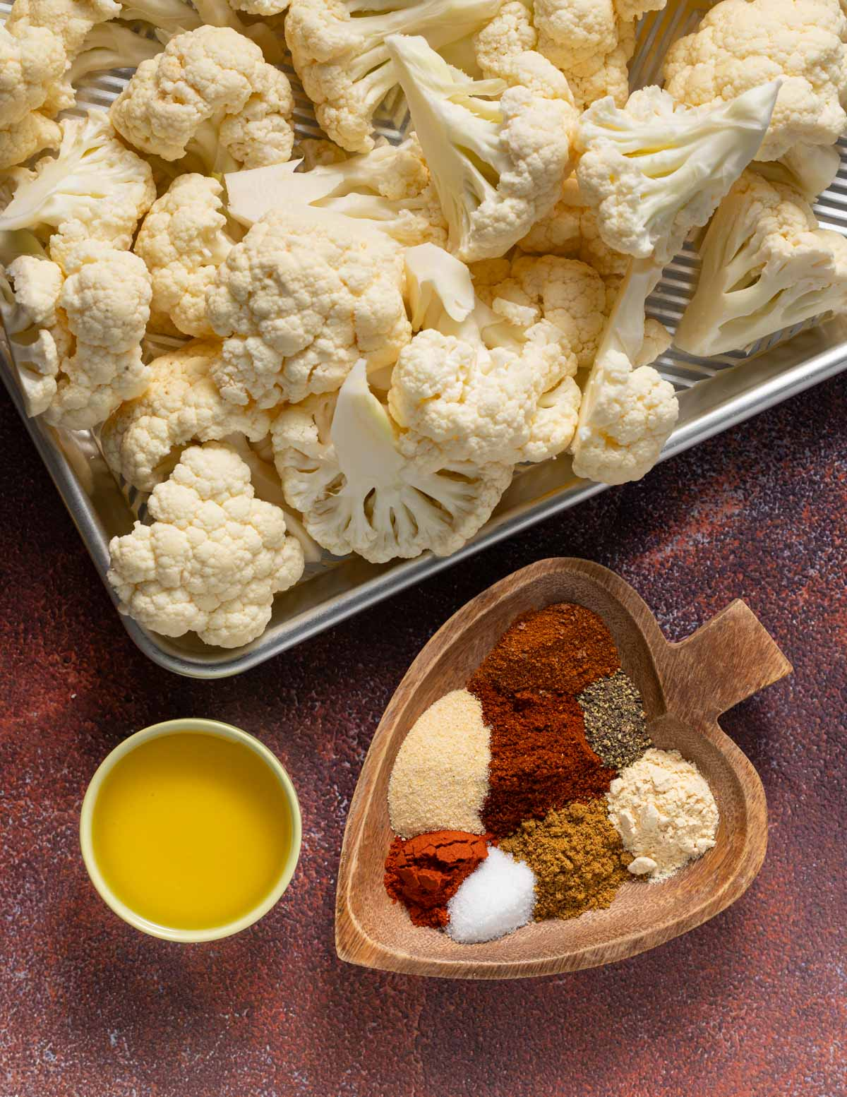 cauliflower florets, oil and spices