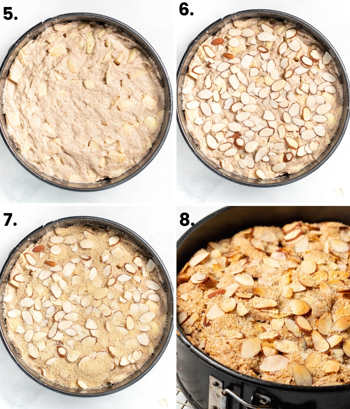 process photos of how to top the cake with sugar and almonds