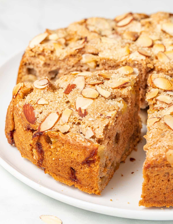 a slice of vegan apple cake