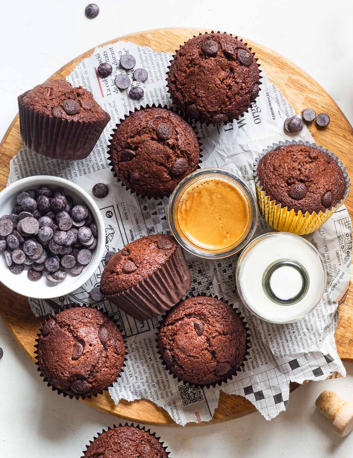 chocolate muffins and a glass of espresso with crema