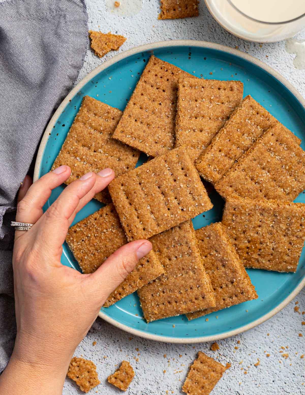 a hand taking a graham cracker