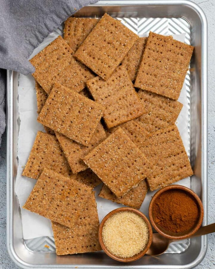 a tray of vegan graham crackers