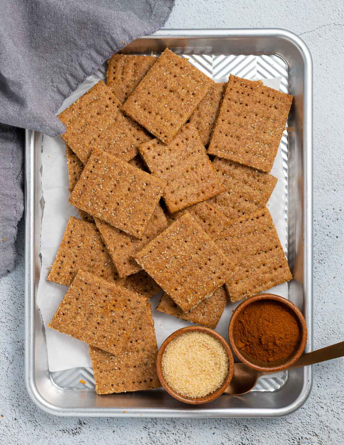 a baking tray covered in vegan graham crackers