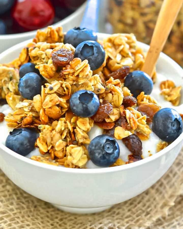 a bowl of granola