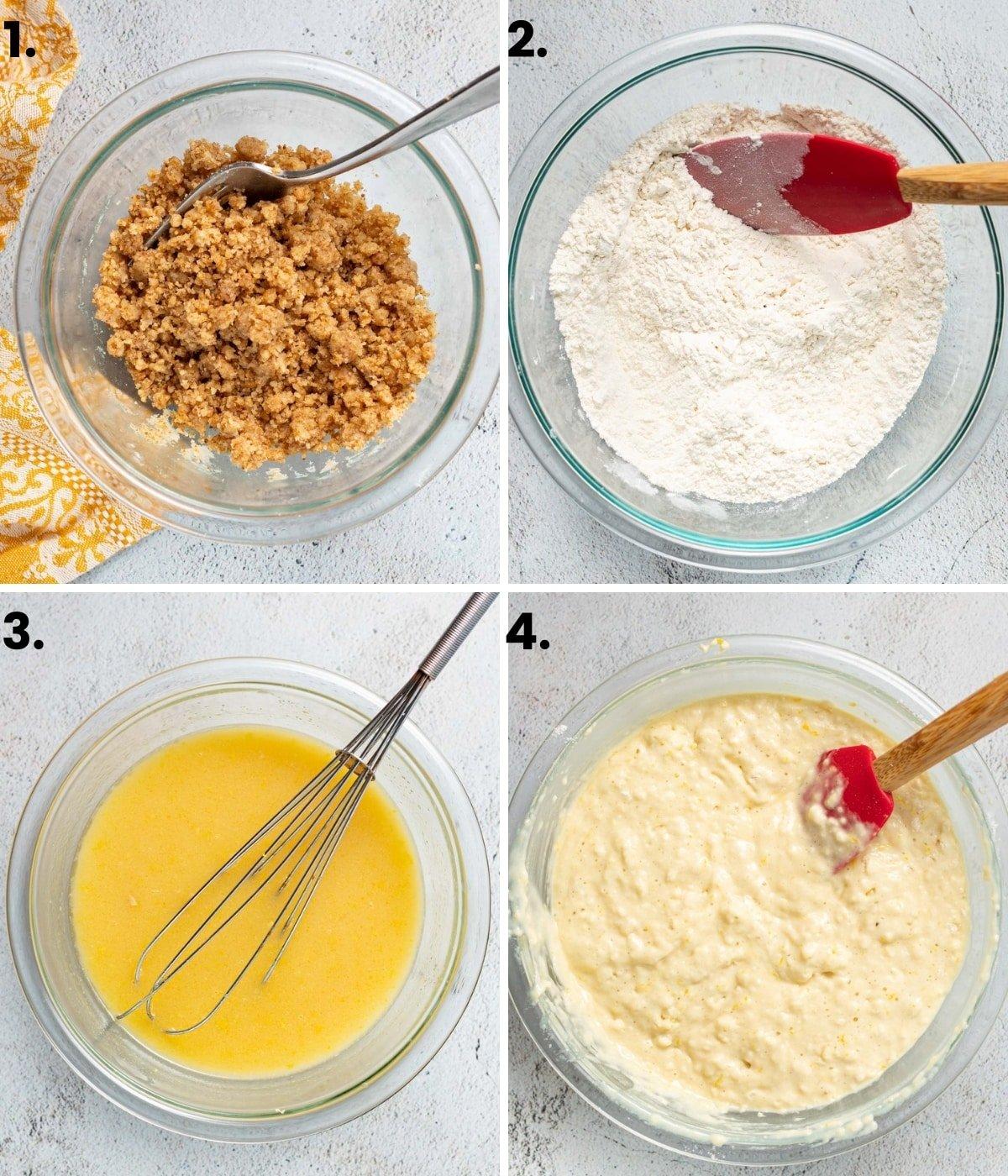 photos showing how to make vegan lemon muffins