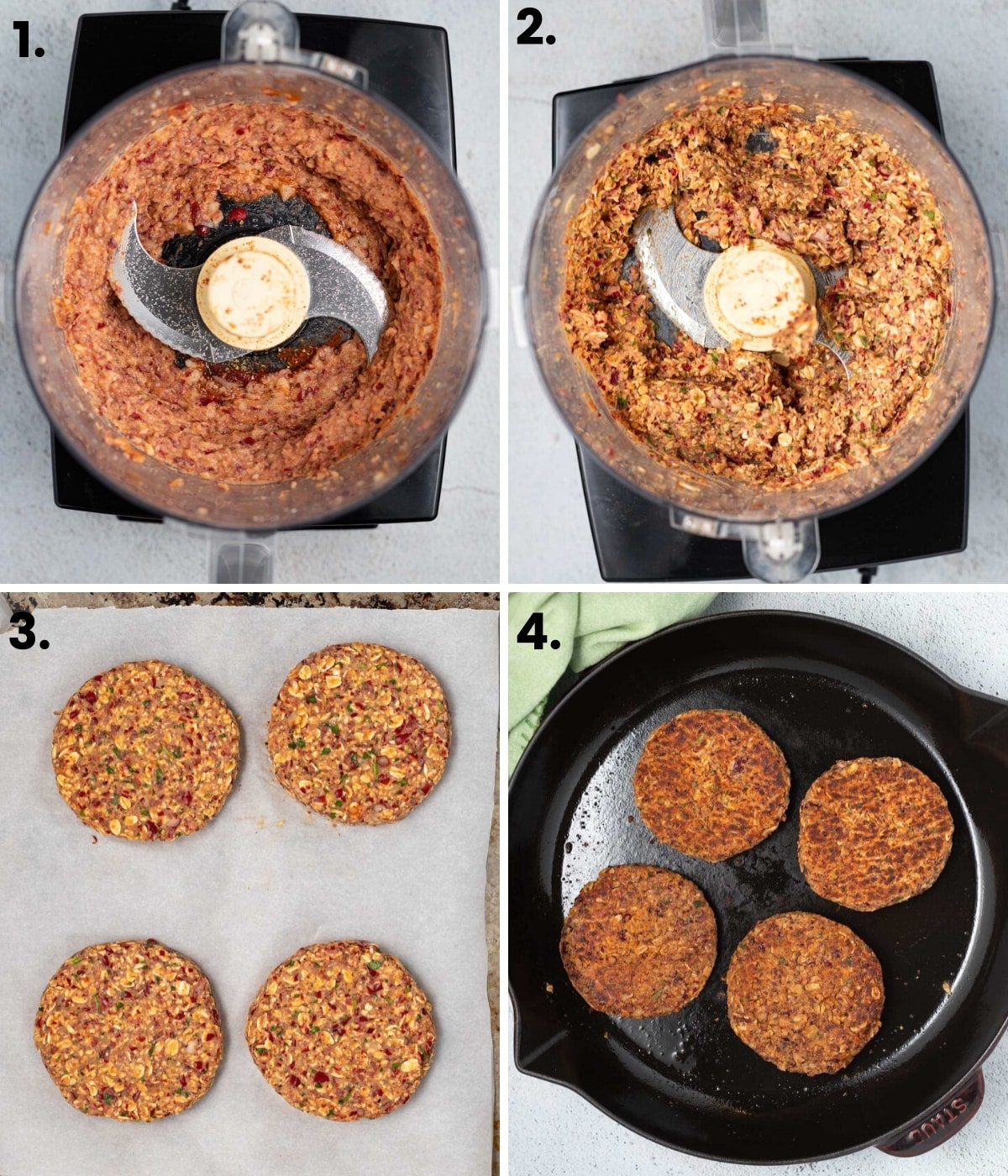photos showing how to make kidney bean burgers as per the written instructions