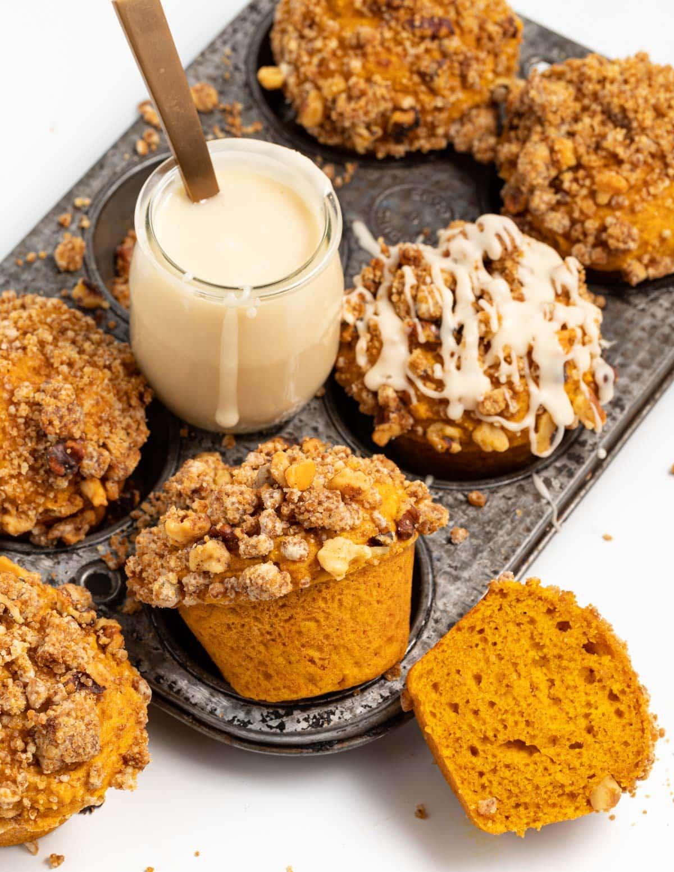 vegan pumpkin muffins with maple glaze