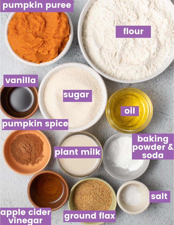 ingredients for making vegan pumpkin muffins as per the written ingredient list