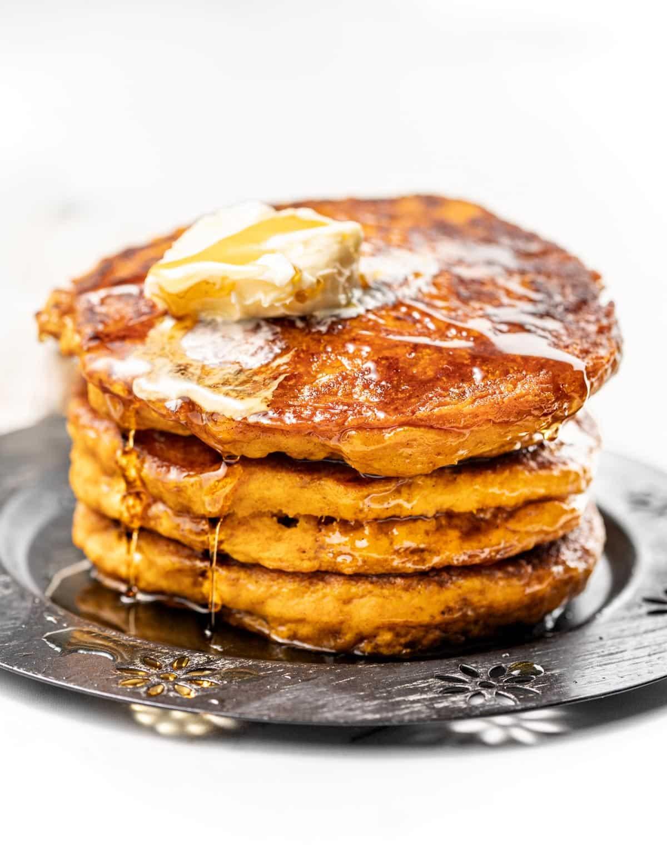 a stack of pumpkin pancakes
