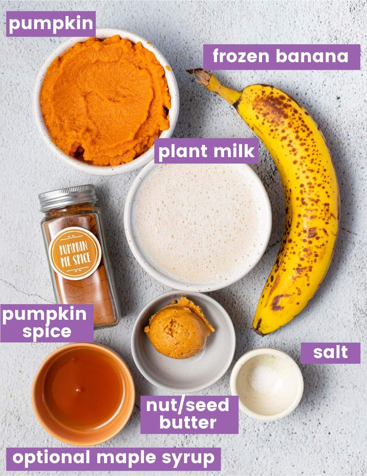ingredients for making a pumpkin smoothie
