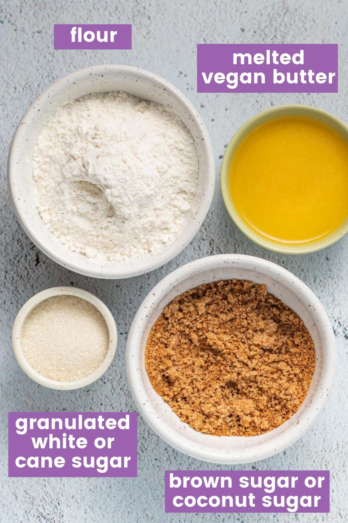 ingredients for vegan streusel as per the written ingredients