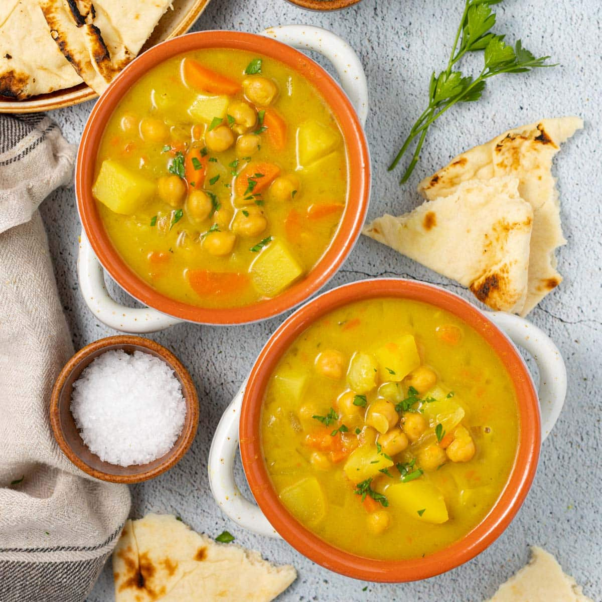 2 bowls of chickpea curry soup