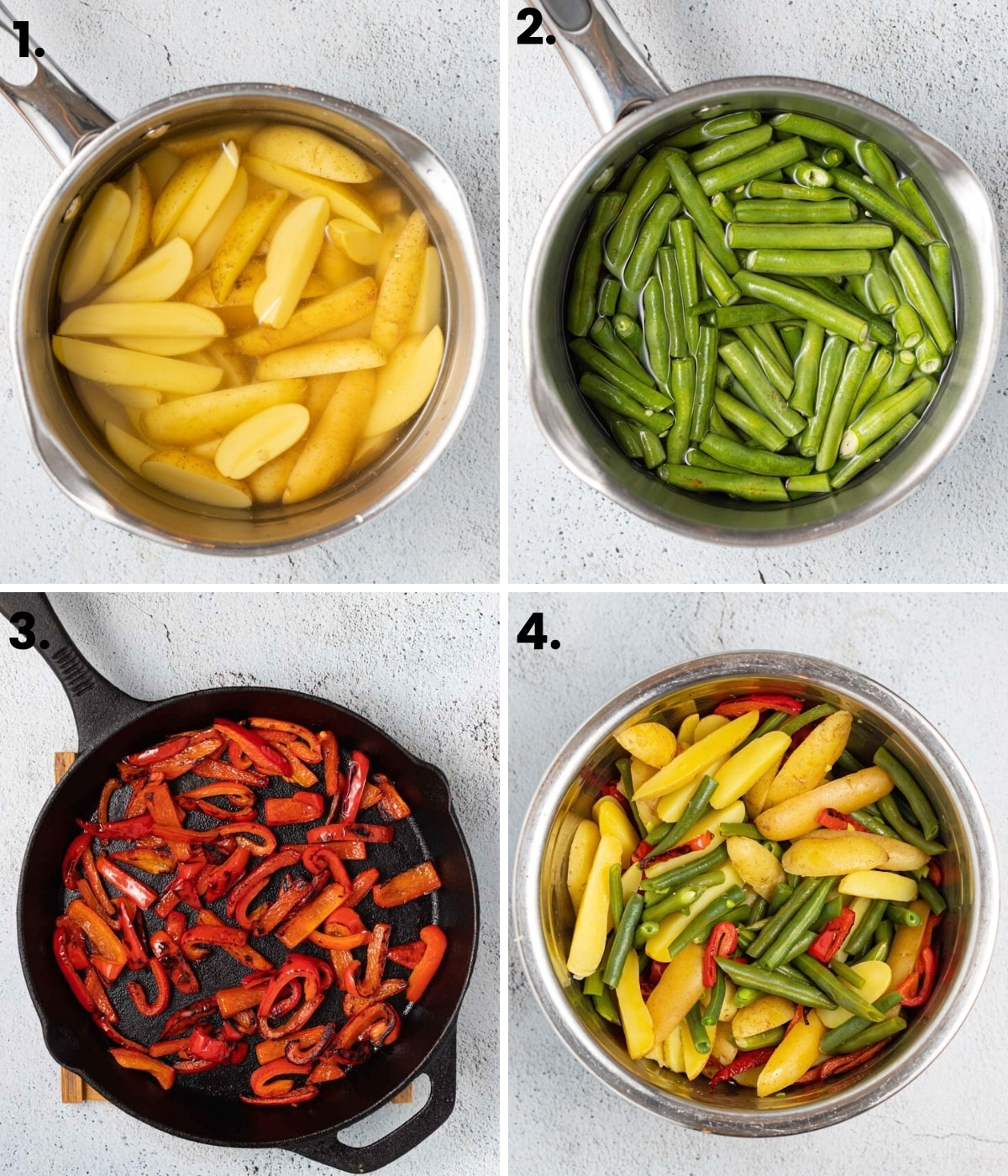 4 images: potatoes in a pan of water, green beans in a pan of water, red bell pepper slices charring in a pan, then all of them mixed up in a stainless steel bowl.