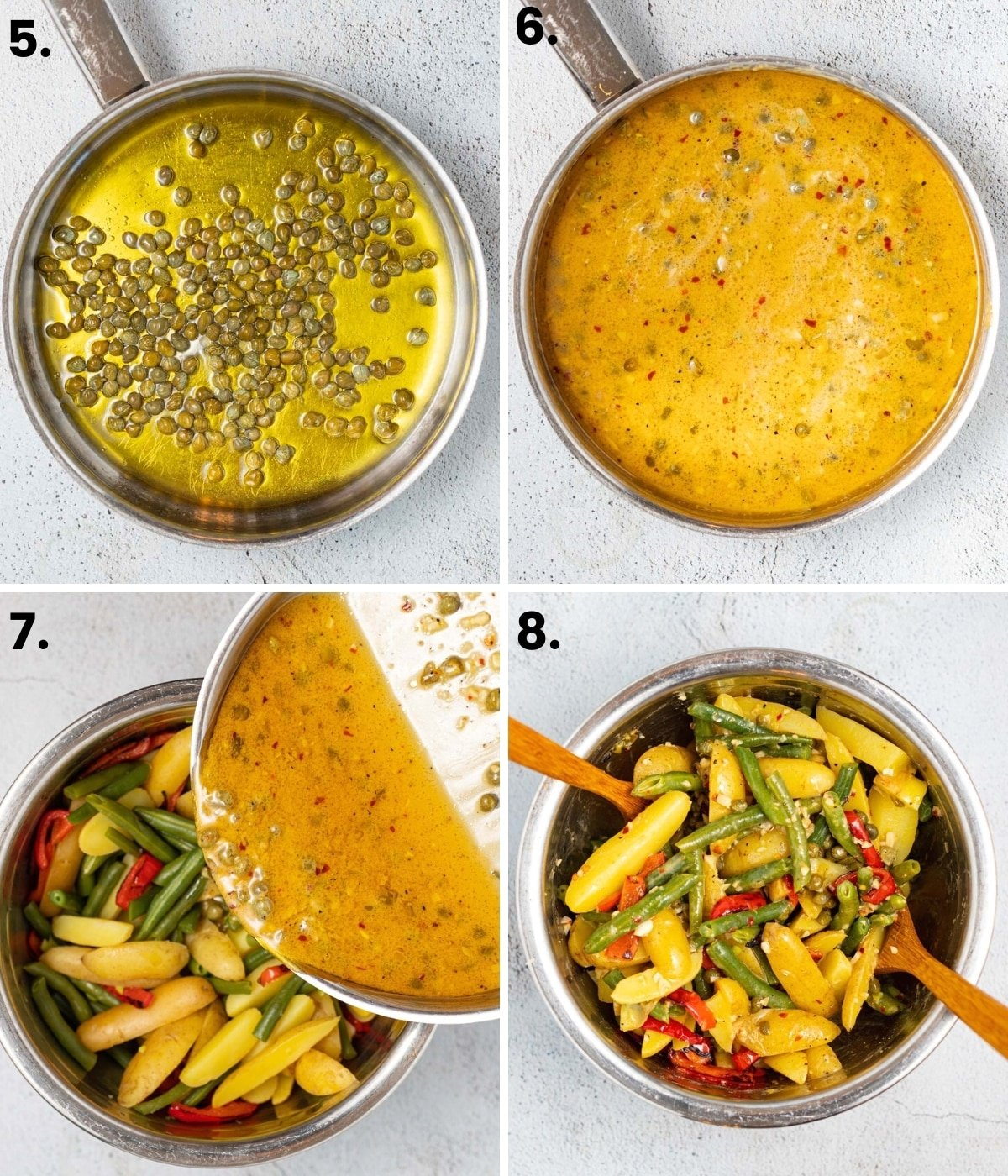 4 images: capers and olive oil in a pan, finished vinaigrette in a pan, pouring the vinaigrette over the potatoes, beans and peppers, tossing them together in a bowl.