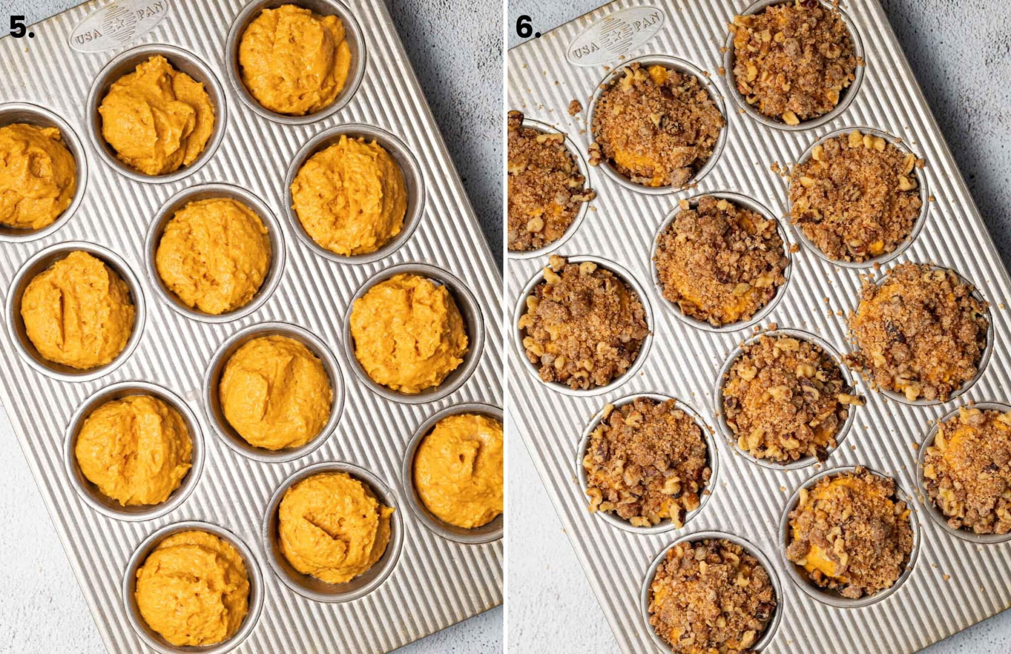 muffins with streusel and without